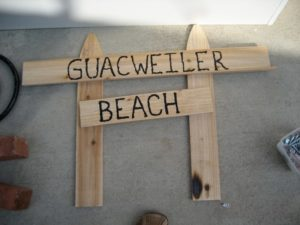 Last minute idea: adding wooden signs. Bought pickets from Home Depot.